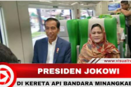 Jokowi Jajal KA Bandara Minangkabau Ekspress Bersama para Pejabat dan Siswa Sekolah